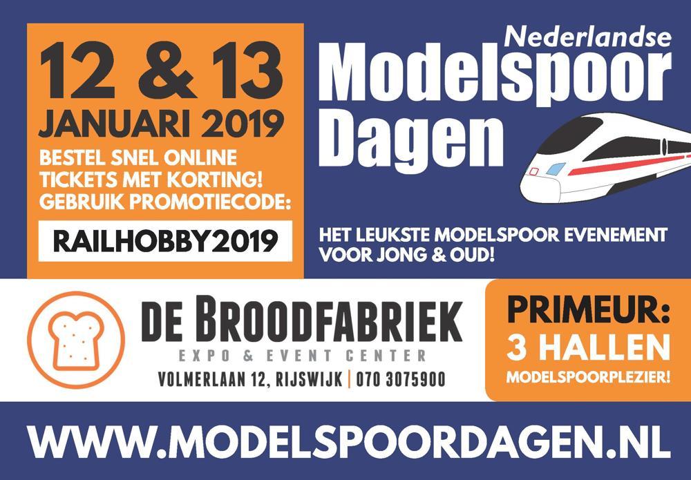 nederlandse modelspoordagen op 12 en 13 januari railhobbyde nederlandse modelspoordagen is h�t event dat nagenoeg alle facetten van de modelspoor wereld beslaat waar voorheen 2 hallen van de broodfabriek in